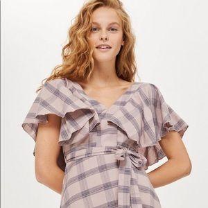 Topshop Washed Check Frill Mini Dress